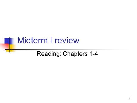 1 Midterm I review Reading: Chapters 1-4. 2 Test Details In class, Wednesday, Feb. 25, 2015 3:10pm-4pm Comprehensive Closed book, closed notes.