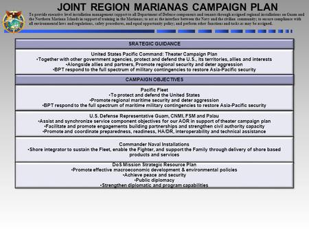 JOINT REGION MARIANAS CAMPAIGN PLAN SRATEGIC GUIDANCE United States Pacific Command: Theater Campaign Plan Together with other government agencies, protect.