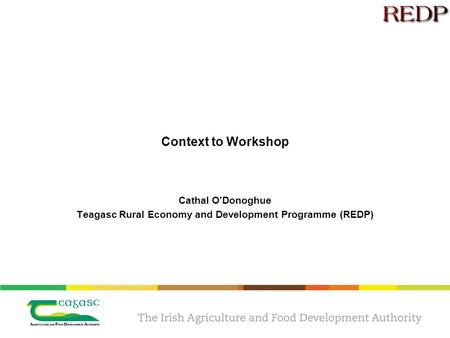 Context to Workshop Cathal O'Donoghue Teagasc Rural Economy and Development Programme (REDP)