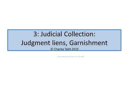 3: Judicial Collection: Judgment liens, Garnishment © Charles Tabb 2010 I don't want a subtitle. How do I kill this off?