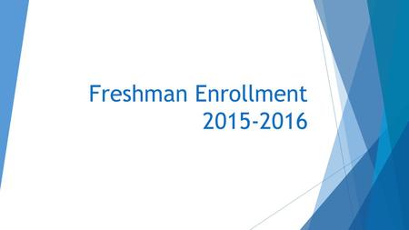Freshman Enrollment 2015-2016. Graduation Requirements  4 Units of English  3 Units of Math  Continuous enrollment until competency is demonstrated.