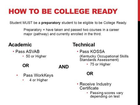 HOW TO BE COLLEGE READY Academic Pass ASVAB 50 or Higher OR Pass WorkKeys 4 or Higher Technical Pass KOSSA (Kentucky Occupational Skills Standards Assessment)