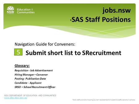 Navigation Guide for Conveners: Submit short list to SRecruitment Glossary: Requisition - Job Advertisement Hiring Manager – Convener Posting - Publication.