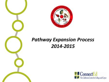 1 Pathway Expansion Process 2014-2015. Agenda Agenda Welcome Brief Overview Linked Learning Presentation of Pathway Expansion Timeline Completing the.