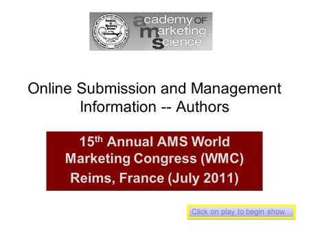 Online Submission and Management Information -- Authors