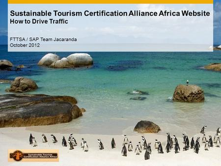 Sustainable Tourism Certification Alliance Africa Website How to Drive Traffic FTTSA / SAP Team Jacaranda October 2012.