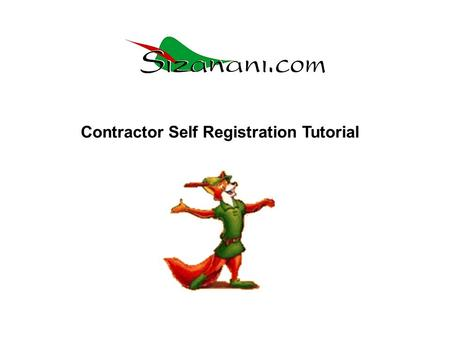Contractor Self Registration Tutorial. Click on the Register Icon to start the registration process.