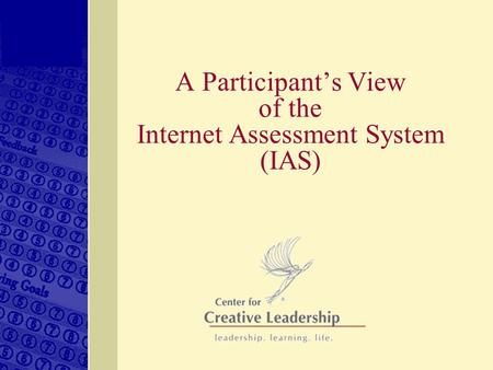 A Participant's View of the Internet Assessment System (IAS)