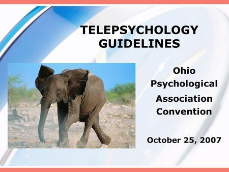 TELEPSYCHOLOGY GUIDELINES Ohio Psychological Association Convention October 25, 2007.
