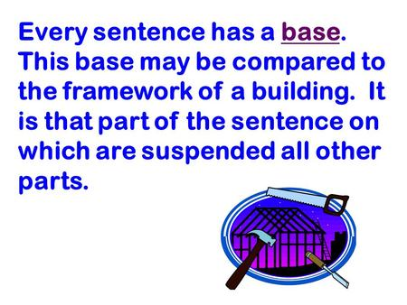 Every sentence has a base. This base may be compared to the framework of a building. It is that part of the sentence on which are suspended all other parts.
