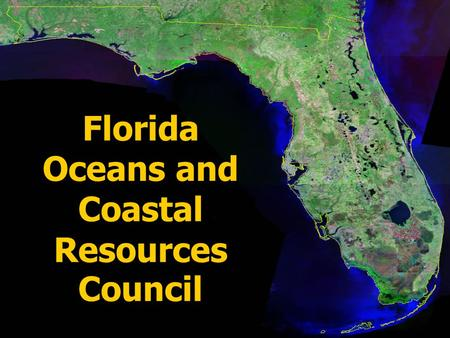 Florida Oceans and Coastal Resources Council. Created by Florida Legislature (§161.70, et seq., Florida Statutes) to recommend research priorities in.