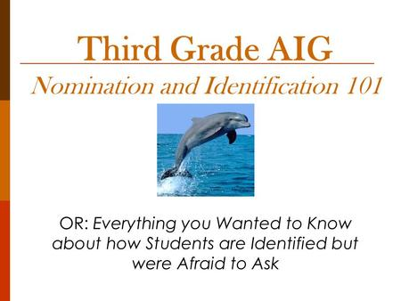 Third Grade AIG Nomination and Identification 101 OR: Everything you Wanted to Know about how Students are Identified but were Afraid to Ask.