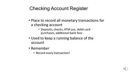 Checking Account Register