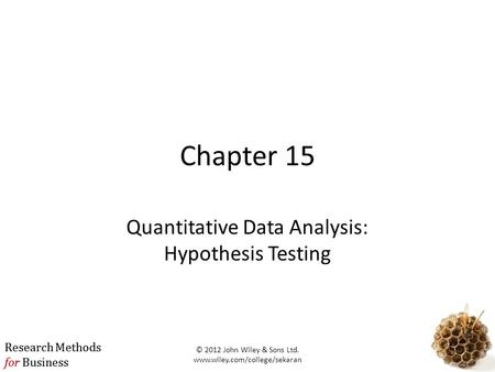 Quantitative Data Analysis: Hypothesis Testing