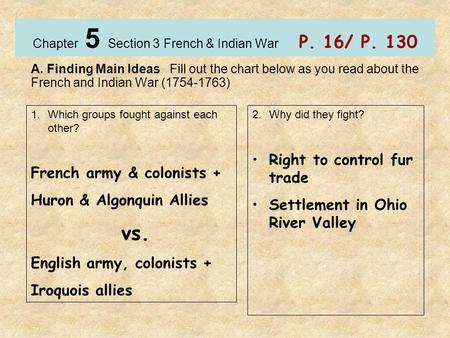 Chapter 5 Section 3 French & Indian War P. 16/ P. 130