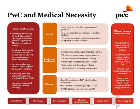 PwC and Medical Necessity Issues and Concerns Emerging OIG scrutiny on medical necessity; nearly 500 hospitals on national target list for Medicare compliance.