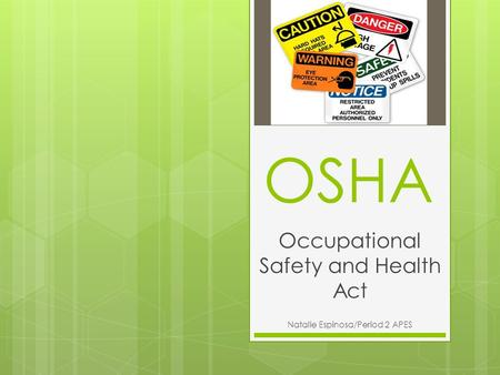 Occupational Safety and Health Act Natalie Espinosa/Period 2 APES OSHA.