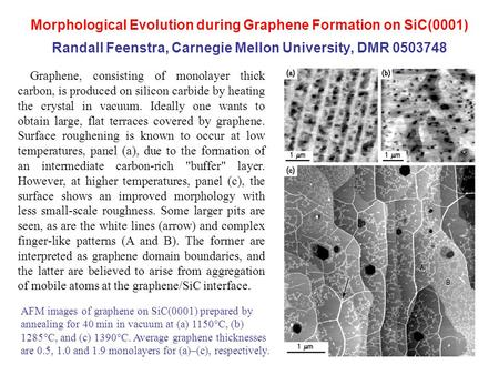 Morphological Evolution during Graphene Formation on SiC(0001) Randall Feenstra, Carnegie Mellon University, DMR 0503748 Graphene, consisting of monolayer.