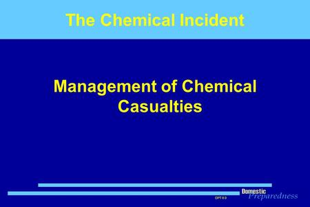 Management of Chemical Casualties