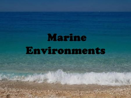 Marine Environments. Why is the water below foaming?