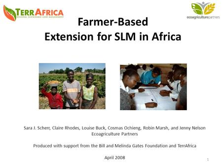 Farmer-Based Extension for SLM <strong>in</strong> Africa