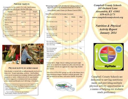 Nutrition & Physical Activity Report January 2014 Campbell County Schools are dedicated to serving nutritious meals and providing multiple physical activity.