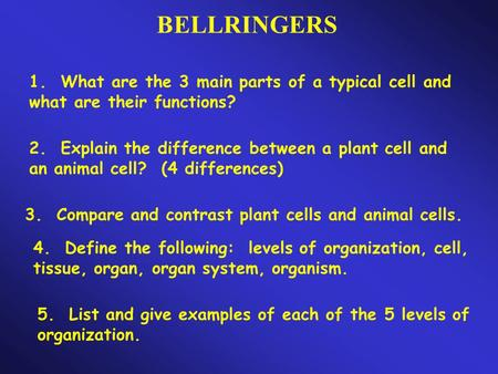 BELLRINGERS 1. What are the 3 main parts of a typical cell and what are their functions? 2. Explain the difference between a plant cell and an animal cell?