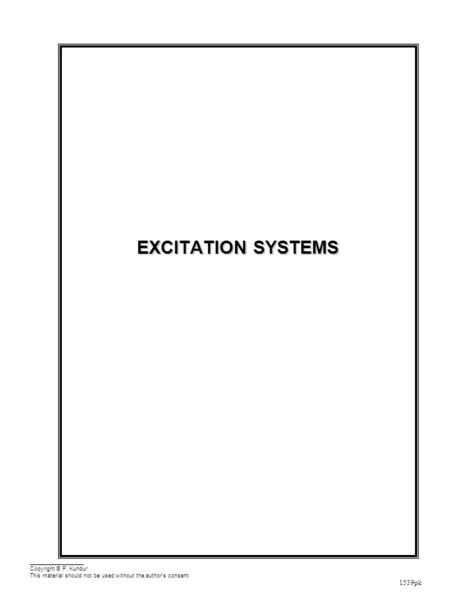 Excitation <strong>Systems</strong> Outline Functions <strong>and</strong> Performance Requirements