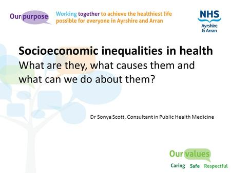 Socioeconomic inequalities in health What are they, what causes them and what can we do about them? Dr Sonya Scott, Consultant in Public Health Medicine.