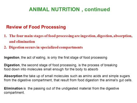 ANIMAL NUTRITION , continued