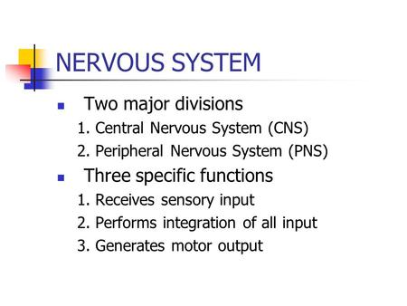 NERVOUS SYSTEM Two major divisions 1. Central Nervous System (CNS) 2. Peripheral Nervous System (PNS) Three specific functions 1. Receives sensory input.
