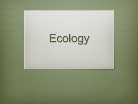 Ecology. Ecology  The study of the interactions of organisms with their physical environment.