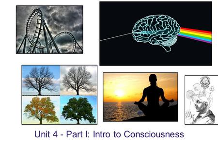 Unit 4 - Part I: Intro to Consciousness. Your individual awareness of your unique thoughts, memories, feelings, sensations and environment. Your conscious.