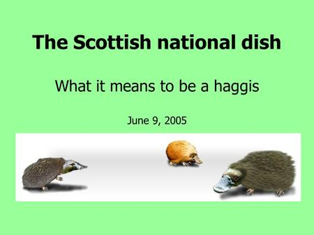The Scottish national dish What it means to be a haggis June 9, 2005.