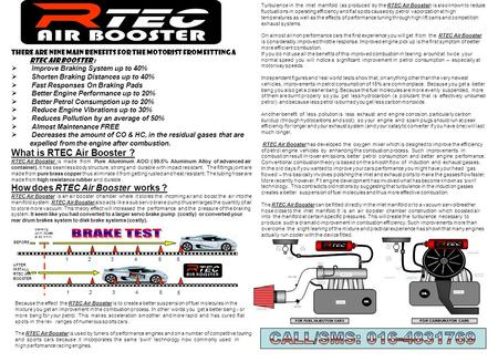 BRAKE TEST TEC AIR BOOSTER CALL/SMS: