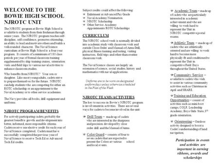 WELCOME TO THE BOWIE HIGH SCHOOL NJROTC UNIT CURRICULUM