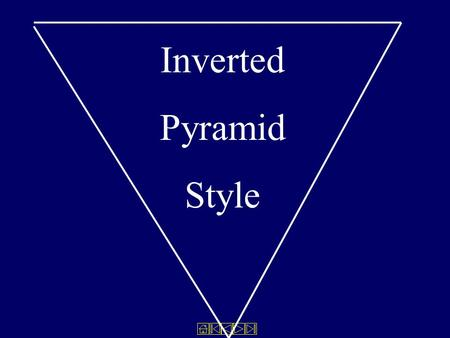 Inverted Pyramid Style. All stories have shapes The reporter's job is to decide which shape is best for the story.