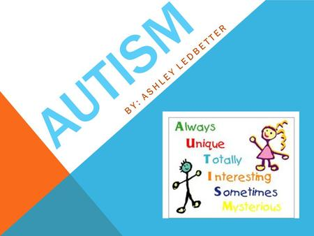 AUTISM BY: ASHLEY LEDBETTER. Autism is a complex neurological disorder that affects one's communication and socialization ability. Obvious signs of autism.
