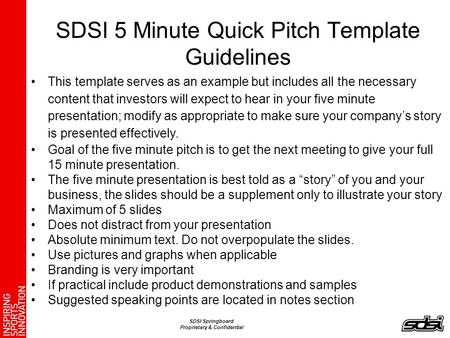 SDSI 5 Minute Quick Pitch Template Guidelines