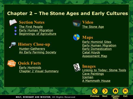 Chapter 2 – The Stone Ages and Early Cultures