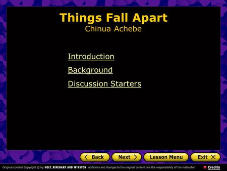Things Fall Apart Chinua Achebe Introduction Background Discussion Starters.