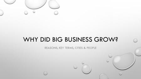 Why did Big business grow?