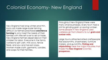 Colonial Economy- New England