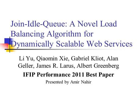 IFIP Performance 2011 Best Paper
