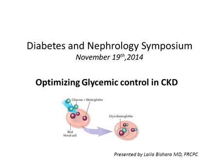 Diabetes and Nephrology Symposium November 19 th,2014 Optimizing Glycemic control in CKD Presented by Laila Bishara MD, FRCPC.