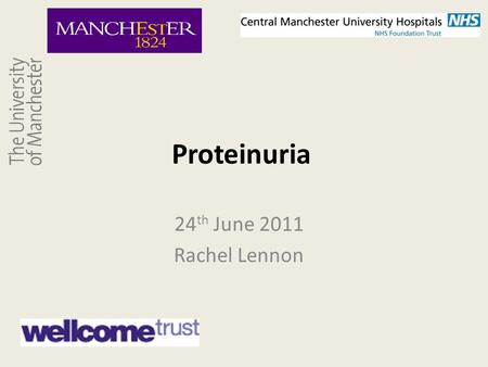 Proteinuria 24 th June 2011 Rachel Lennon. The Spectrum of Glomerular Disease Minimal change Proteinuria FSGS IgA nephropathy Membranous Diabetic nephropathy.