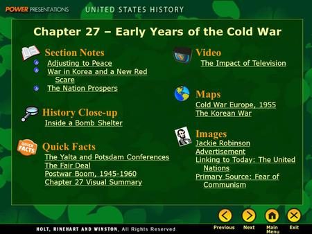 Chapter 27 – Early Years of the Cold War