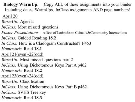 Biology WarmUp:	Copy ALL of these assignments into your binder Including dates, WarmUps, InClass assignments AND page numbers! April 20 WarmUp: Agenda.