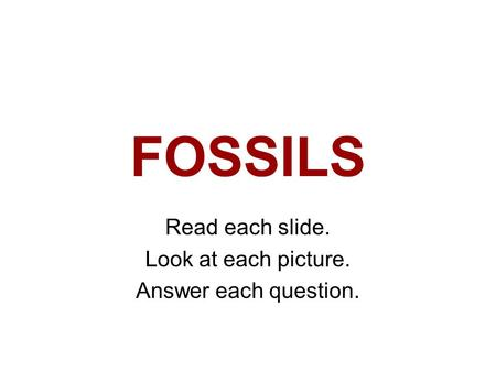 FOSSILS Read each slide. Look at each picture. Answer each question.