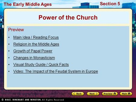 Power of the Church Preview Main Idea / Reading Focus
